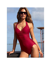 Floral Red Conjoined Triangle Small Skirt Polyamide Fibre Monokini