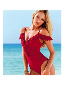 Amethyst Red Fashion Model Of Conjoined Hot Body Polyamide Fibre Monokini