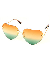 High Waist Multicolor Heart Shape Frame Design Alloy Women Sunglasses