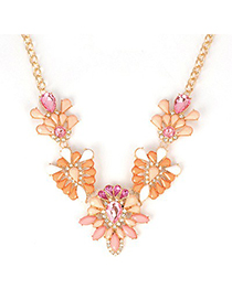 Sweet Pink Hollow Out Gemstone V Shape Design Alloy Fashion Necklaces