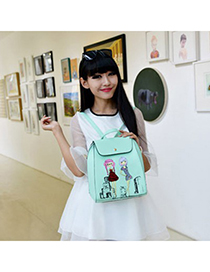 Nice pea green beautiful girl pattern simple design pu Backpack