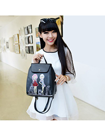 2011 black beautiful girl pattern simple design pu Backpack