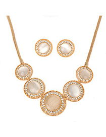 Rubber gold color opal decorated simple design alloy Jewelry Sets