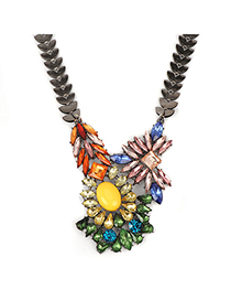Elegant multicolor diamonddecoratedirregulardesign alloy Fashion Necklaces