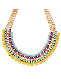 Cranes multicolor gemstonedecoratedmultilayerdesign alloy Fashion Necklaces