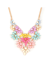Arrowhead multicolor acrylicstonedecoratedflowerdesign alloy Fashion Necklaces