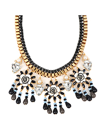 Long black threeflowerdecoratedtasseldesign alloy Fashion Necklaces