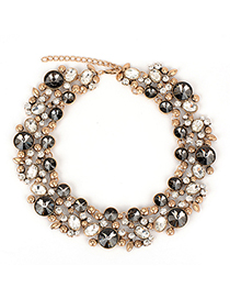 Timeless black&white CZdiamonddecoratedcircleshapedesign alloy Fashion Necklaces