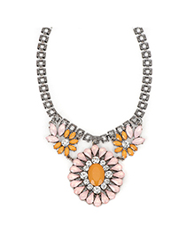Alternativ pink gemstonedecoratedflowerdesign alloy Fashion Necklaces