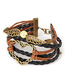 Cool black & brown heart decorated woven rope design alloy Korean Fashion Bracelet