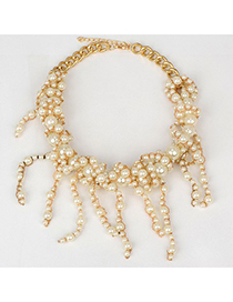 Sequined white pearl decorated tassel design alloy Fashion Necklaces