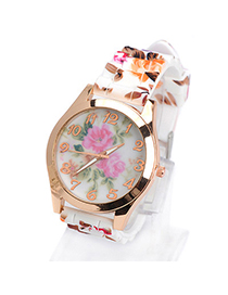 Barbie brown flower pattern simple design silicone Ladies Watches
