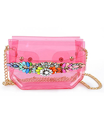 Glam transparent red gemstone decorated simple design pu leather Messenger bags