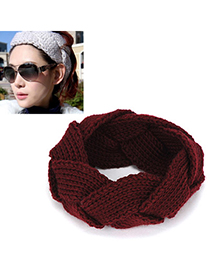 Expensive claret-red twist weave simple design wool Hair band hair hoop