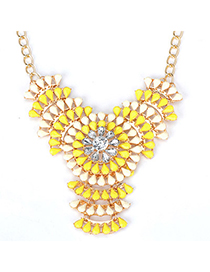 Fashionabl yellow & white flower decorated hollow out design alloy Fashion Necklaces