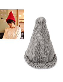 Squash gray curling steeple design wool Knitting Wool Hats