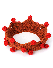Buckle Brown & Red Small Ball Decorated Crown Shape Design Wool Beanies Others