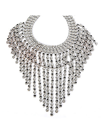 Homecoming Silver Color Matel Decorated Tassel Design Alloy Fashion Necklaces