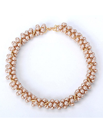 Pantsuit Champagne Beads  Decorated Simple Design Alloy Fashion Necklaces
