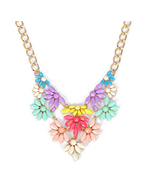 Famale Multicolor Gemstone Decorated Fan Shape Design Alloy Bib Necklaces