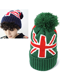 Invitation Green Flag Pattern Simple Design Wool Knitting Wool Hats