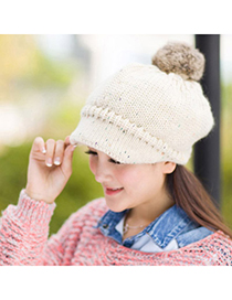 Glueless Beige Ball Decorated Simple Design Wool Knitting Wool Hats