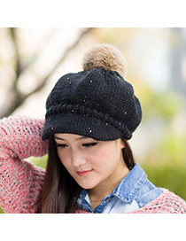 Gored Black Ball Decorated Simple Design Wool Knitting Wool Hats