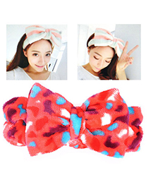 Memorable Red Leopard Pattern Bowknot Shape Design Flannel Hair Band Hair Hoop