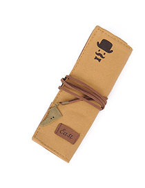 Awesome Beige Moustache Pattern Decorated Rectangular Design Canvas Pencil Case Paper Bags