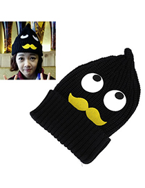 Corporate Black Eyes&moustache Pattern Decorated Simple Design Wool Knitting Wool Hats
