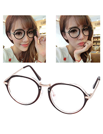 Kids Gold Color & Claret-red Round Frame Decorated Plain Design Resin Fashon Glasses