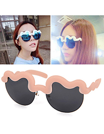 Piercing Pink Half Frame Decorated Simple Design Alloy Women Sunglasses