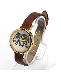 Dickie Dark Brown Elephant Pattern Decorated Simple Design Alloy Ladies Watches