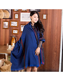 Hanging Navy Blue Fine Twill Decorated Simple Design Woolen Knitting Wool Scaves