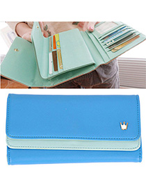 Rosary Sapphire Blue Crown Decorated Simple Design Leather Wallet