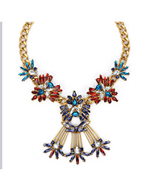 Personal Multicolor Gemstone Decorated Simple Design Alloy Fashion Necklaces