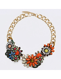 Celebrity Orange & Beige Gemstone Decorated Flower Design Alloy Bib Necklaces