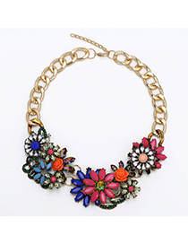 Current Plum Red & Blue Gemstone Decorated Flower Design Alloy Bib Necklaces
