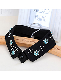 Vera Blue & Black Flower Shape Decorated Simple Design Chiffon Detachable Collars