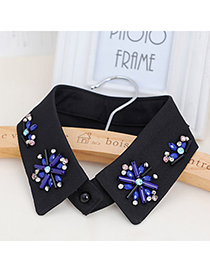 Maxi Blue & Black Flower Shape Decorated Simple Design Chiffon Detachable Collars