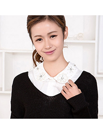 Small White Flower Embroideried Decorated Lace Design Cotton False Collar