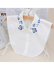 Hippie White Flower Pattern Decorated Simple Design Cotton Detachable Collars