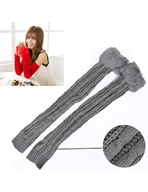 Mysterious Light Gray Imitation Cashmere Decorated False Sleeves Deisgn Cashmere Fingerless Gloves