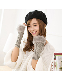 Disposable Gray Imitation Cashmere Decorated Fingerless Design Cashmere Fingerless Gloves