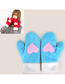 Pleated Blue Heart Pattern Fingerless Simple Design Wool Full Finger Gloves