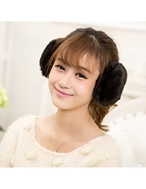 Traditiona Black Pure Color Simple Design Pp Cotton Fashion earmuffs