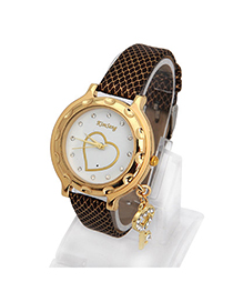 Bodybuildi Coffee Key Shape Decorated Simple Design Alloy Ladies Watches
