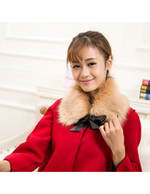 Peridot Camel Bowknot Decorated Simple Design Imitation Fox Fur Detachable Collars