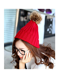 Funeral Red Ball Decorated Simple Design Wool Knitting Wool Hats
