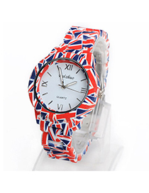 Birthing Blue & Red Flag Pattern Decorated Simple Design Alloy Ladies Watches